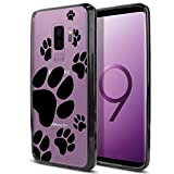 FINCIBO Case Compatible with Samsung Galaxy S9 Plus 6.2 inch, Slim Shock Absorbing TPU Bumper + Clear Hard Protective Case Cover for Galaxy S9 Plus (NOT FIT S9) - Dog Paw Prints