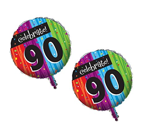 Creative Converting Party Decoration Round Metallic Balloon, Milestone Celebrations 90th (2 - Balloon Metallic Celebrations