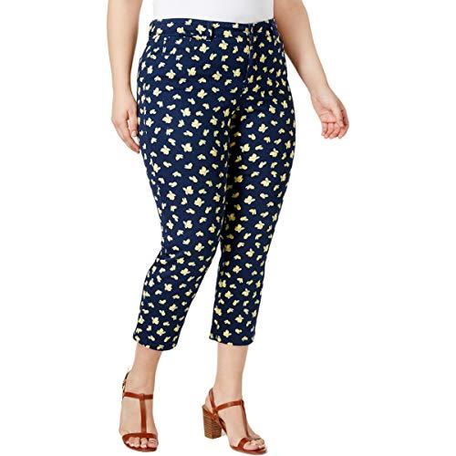 (Charter Club Womens Plus Bristol Printed Tummy Slimming Capri Pants Navy 18W)