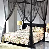 Goplus Mosquito Net, 4 Corner Post Bed Canopy, Quick and Easy Installation for King Size Beds Large Queen Size Bed Curtain (Black)
