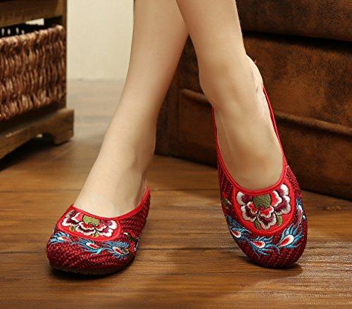 Avacostume Mujeres Chinese Style Oxfords Suela Tejida Zapatillas Para Caminar Rojo