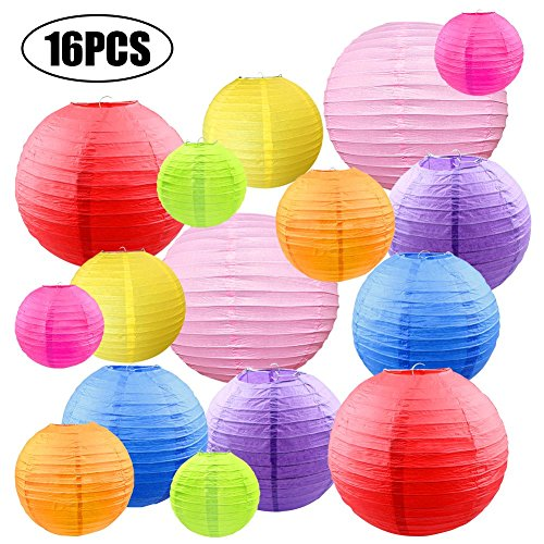 CosyVie 16 Pcs Colorful Paper Lanterns Decorative 10inch/8inch/6inch/4inch Multicolored Hanging Paper Lanterns for Home Decor, Parties, and Weddings Decoration (Multicolor) (Lanterns Color)