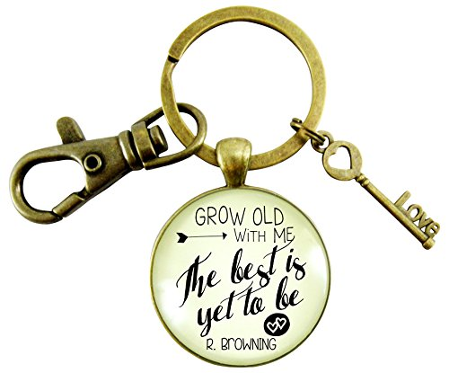 Couples Jewelry Grow Old With Me Keychain Best Yet To Be Men's Gift Keepsake Card Vintage Style Bronze Key Chain Anniversary Keepsake Glass