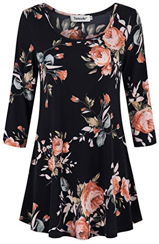 (Tencole 3/4 Sleeve Shirts for Women Dressy Tunic Tops Casual Wear with Floral Black Pink)