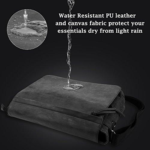 "Mens Laptop Messenger Bags 15.6"" Water Resistant Shoulder Bag Tocode PU Leather Canvas Satchel Crossbody Bags Brifecase Office Bag Large Computer Bag for Work College School Travel, Black by Tocode (Image #4)"