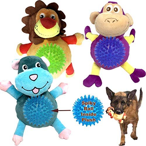 3 Pack Dog Toy 2-in-1 Dog Squeaky Toy Dog Chew Toy Interactive Dog Plush Toy with Spiky Ball Inside