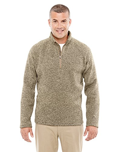 Devon & Jones Mens Bristol Sweater Fleece Half-Zip (DG792) -KHAKI HEATHE - Half Khaki