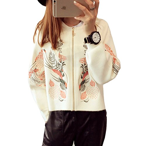 Luxe 7 RM200917 Women's Oriental Embroidery Bomber Style Zip Up Cardigan Sweaters Ivory by Luxe 7