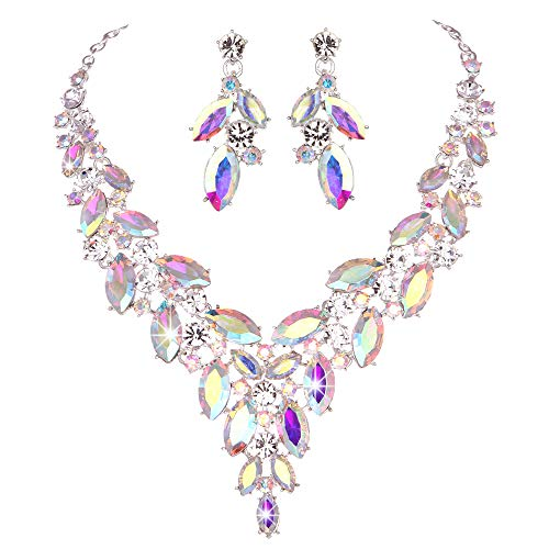 Modbridal Formal/Ball/Prom/Cocktail/Evening/Event Party Rhinestone Necklace and Earrings Jewelry Sets for Wedding Dress (Crystal AB)