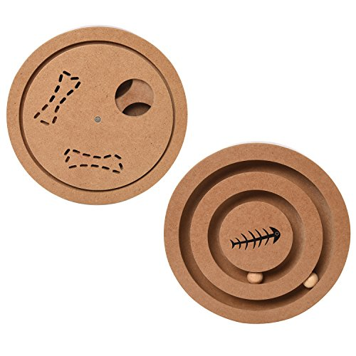 (Interactive Fun IQ Puzzle for Dogs, Cats and Pets Food Treated Wooden Toy Game - 2 Sided Puzzle)