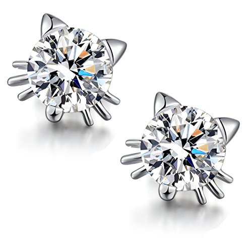 Silver CZ Diamond Cat Earrings - Hypoallergenic 14K Gold Post Earrings Cubic Zirconia Stud Earrings Sterling Silver Earring Backs Crystal Stud Earrings Fashion Animal Cat Earrings for Women