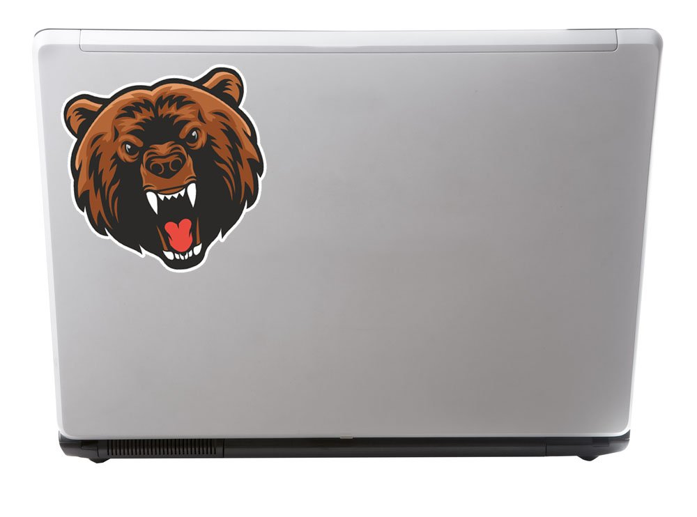 2 x 15cm Angry Brown Bear Vinyl Sticker iPad Laptop Car Motorbike Helmet #5072