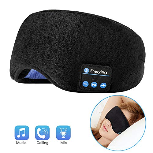 Voerou Sleep Headphones Wireless Bluetooth Sleep Eye Mask Music and Ultra Thin Speakers Perfect for Sleeping, Air Travel,Meditation and Relaxation - Black