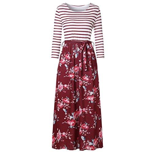 MCYs Kleider Damen Blumen Kleid Elegant Langarm Maxikleid Floral ...