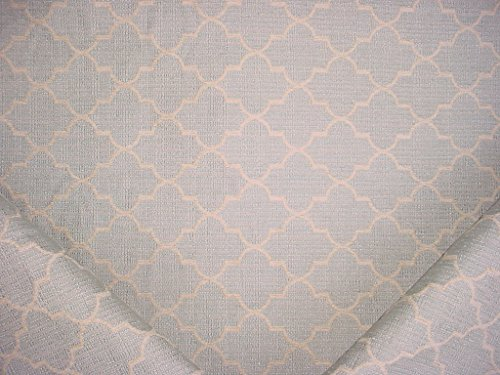 (95RT4 - Aqua Blue / Antique White Transitional Lattice Scroll Designer Upholstery Drapery Fabric - By the Yard)
