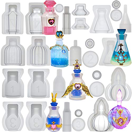 Small Bottle Container and Stopper UV Resin Epoxy Silicone Mold Jewelry Casting 6 Trays Set