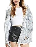 IRISIE Women Shimmer Silver Sequins Oversize Hooded Zipper Up Jacket(XL,Silver)