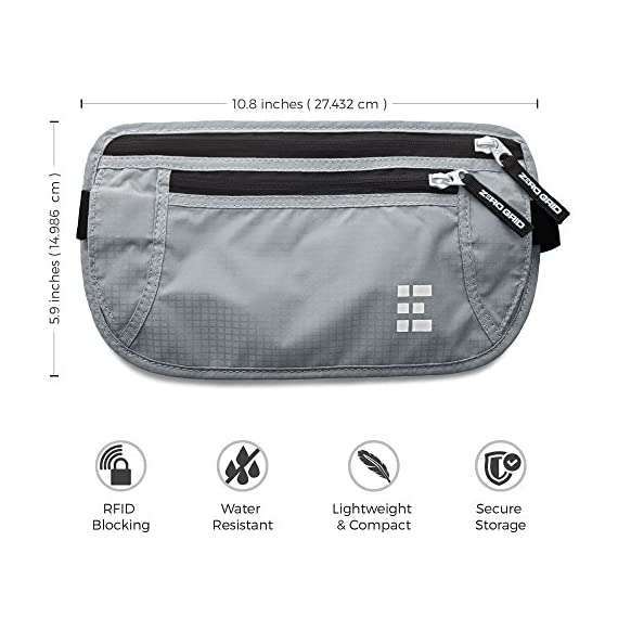 Zero Grid Money Belt w/RFID Blocking - Concealed Travel Wallet & Passport Holder 2 PROTECTS YOUR VALUABLES & IDENTITY - A money belt for travel for men and women. This belt wallet for travel conceals cash, credit cards & other valuables from pickpockets. Built in RFID Blocking safeguards your passport and credit cards and personal information inside the wallet belt against identity theft. BONUS GIFT - 7 RFID Blocking Sleeves for your ultimate peace of mind (6 Credit Card & 1 Passport) - For use ONLY when your passport or credit cards aren't inside the money belt. DESIGNED FOR SAFE INTERNATIONAL TRAVEL - Invaluable for crowded marketplaces, airports, an airplane, buses, trains, sporting events and music festivals. A thin travel belt and passport wallet for women and men that is virtually invisible to thieves, feel secure in any environment. Wear under your clothes for pickpocket proof protection. COMFORTABLE & FULLY ADJUSTABLE - Constructed from ultra-lightweight, water-resistant 210D Ripstop Nylon. Breathable, moisture-wicking back eliminates uncomfortable moisture and heat. Soft elastic waistband adjusts to fit Men and Women.