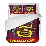 SanChic Duvet Cover Set Horror Night Halloween Party Movie Event Terrified Vintage Man Face Afraid Something Creepy Decorative Bedding Set Pillow Sham Twin Size