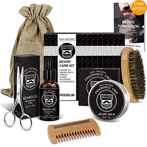 Beard Kit - Beard Grooming Kit with Natural Organic Beard Oil and Beard Balm, Wooden Beard Brush and Comb, Beard Scissors, Luxury Gift Box and Free eBook, Perfect Gifts for Men (Best Natural Beard Oil)
