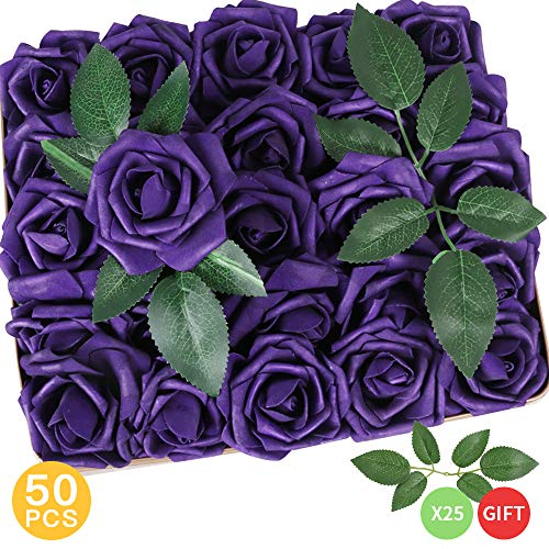 (AmyHomie Pack of 50 Real Looking Artificial Roses w/Stem for DIY Wedding Bouquets Centerpieces Arrangements Party Baby Shower Home Decorations (Purple))