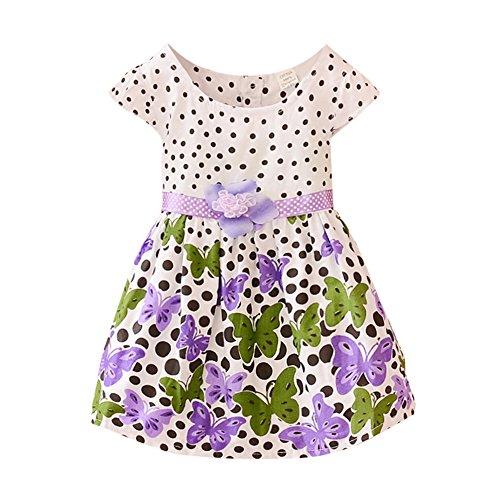 (Weixinbuy Baby Girl's Cotton Polka Dots Short Sleeve Tutu Dress Purple L)