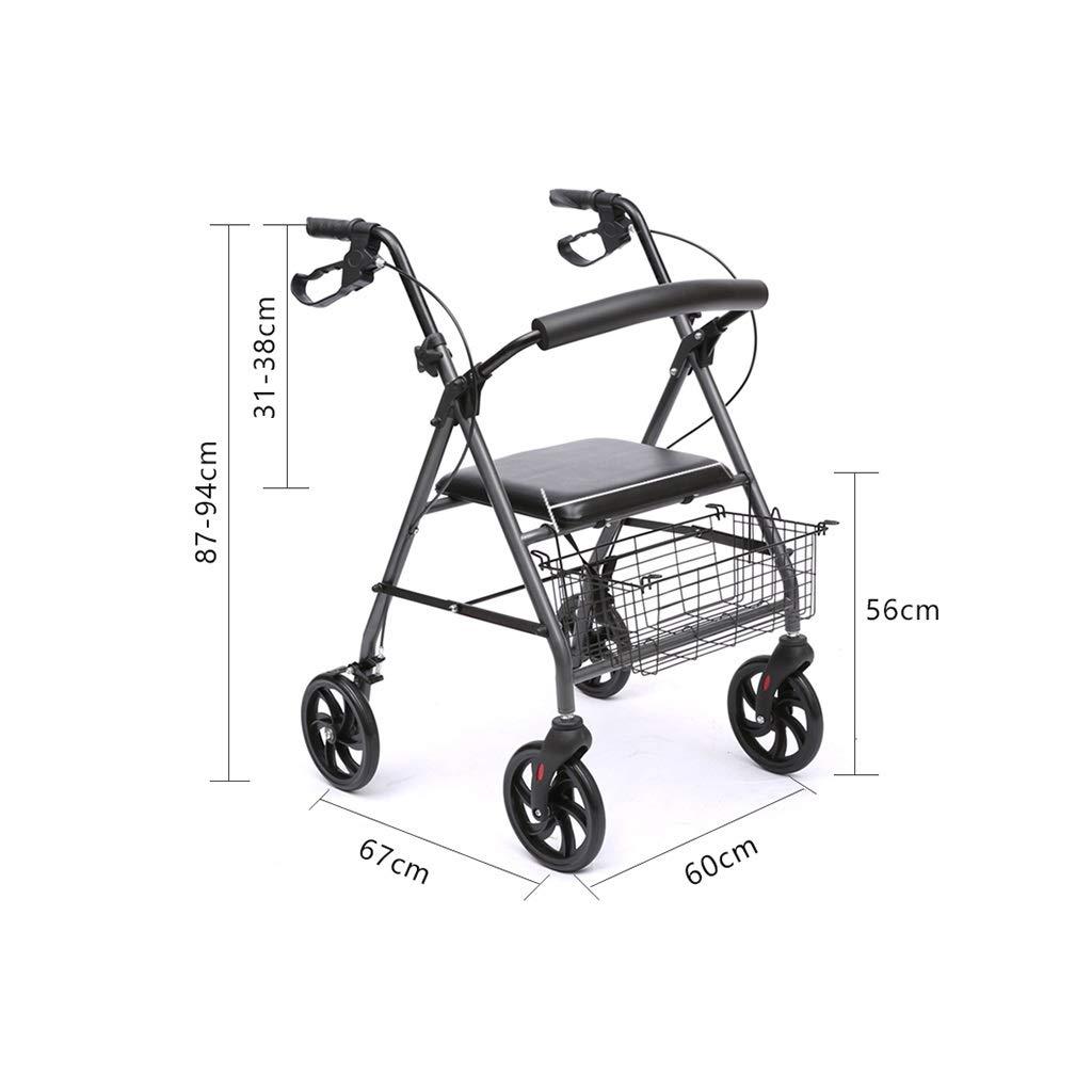 M-JJZX Andador con 4 Ruedas, Aluminio Ultraligero Plegable con ...