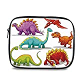 Dinosaur Durable iPad Bag - Colorful Funny Different Dino Collection Friendly Wildlife Extinct Animals Ice Age Decorative for iPad - 10.6