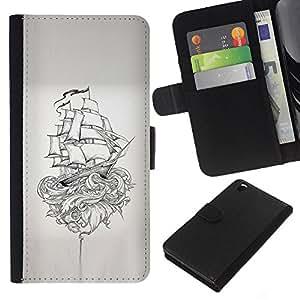 A-type (Pirate Ship Kraken Monster Myth) Colorida Impresión Funda Cuero Monedero Caja Bolsa Cubierta Caja Piel Card Slots Para HTC DESIRE 816