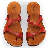 Bangi Shoes Zoro Flat Leather Women Sandals (9 US | 39 EU, Red)
