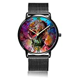 Whiterbunny Customized Skull Flower Wrist Watch Unisex Analog Quartz Fashion Black Steel Strip/Black Dial Plate for Women and Men