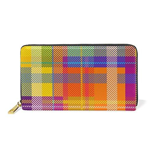 U LIFE Colorful Striped Rainbow Tartan Plaid Gingham Checkered Geometric Wallets Purse Cash Card Holder Case Leather (Card Case Striped)