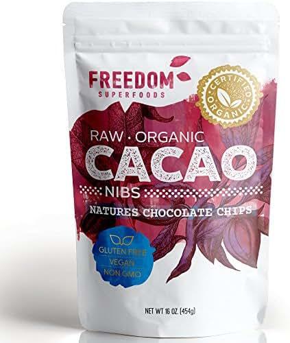 Raw Organic Cacao Nibs, Unsweetened Gluten Free Non-GMO Antioxidant Rich Keto Cocoa Beans, 1 Pound
