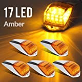 Partsam 5x Amber Yellow 17LED Cab Marker Top Clearance Lights w/ Chrome Base Truck Trailer Peterbilt Kenworth Freightliner Autocar Hayes
