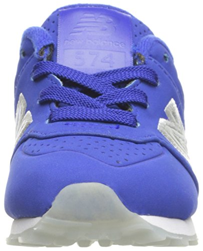 New Balance Youth 574 Luxe Rep Nubuck Trainers Blue Grey