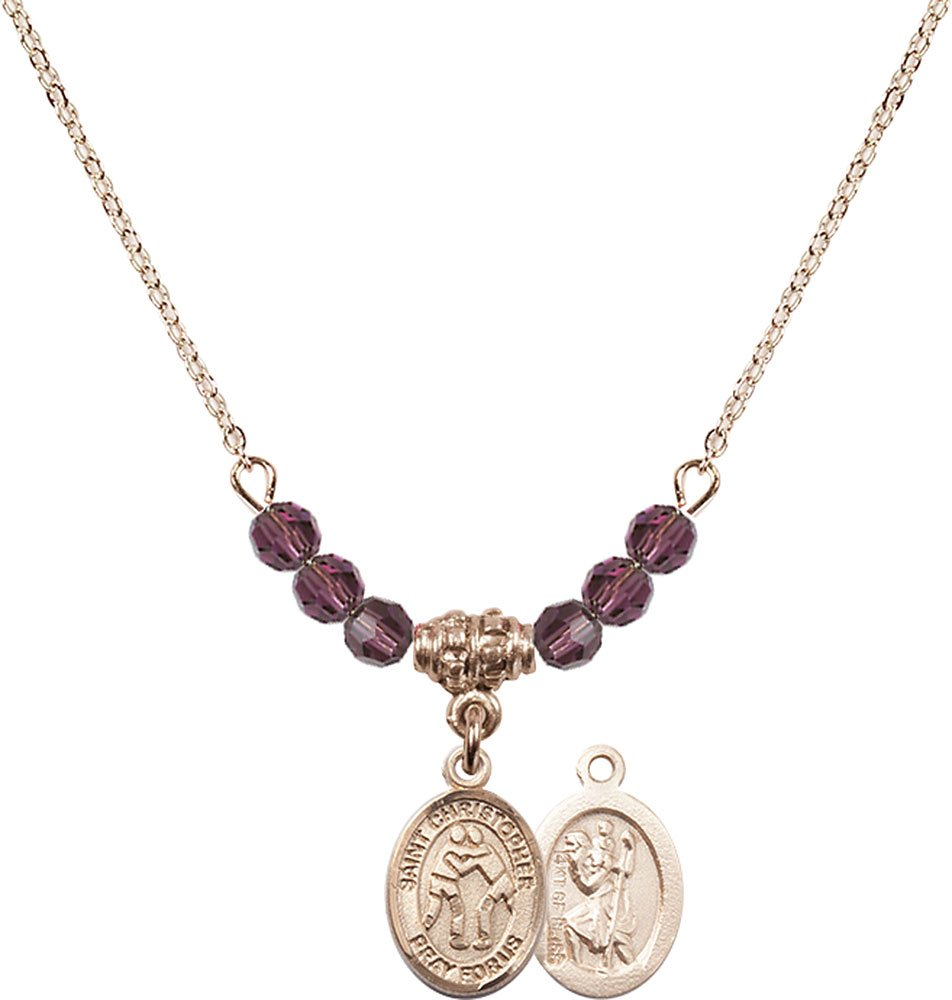 18-Inch Hamilton Gold Plated Necklace with 4mm Amethyst Birthstone Beads and Gold Filled Saint Christopher/Wrestling Charm. by F A Dumont