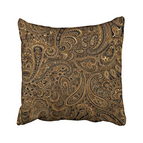 Paisley Cotton Pillowcase (Brown Beige Black Floral Paisley Pattern Cushions Case Throw Pillow Cover for Sofa Home Decorative Pillowslip Gift Ideas Household Pillowcase Zippered Pillow Covers 18x18Inch)
