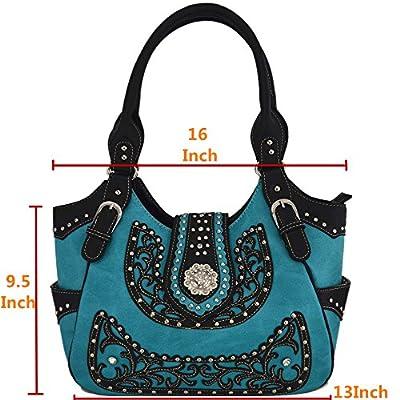 Western Style Concealed Carry Purse Concho Belt Cowgirl Country Handbag Women Shoulder Bag Wallet Set TQ