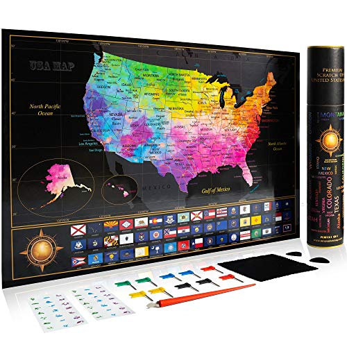 """Premium Scratch Off Map of The United States - Watercolor USA Travel Scratch Map with All States Capitals, Flags and Accessories Included - 11 x 17"""" Unique & Detailed Design - Deluxe GlFT Package"""