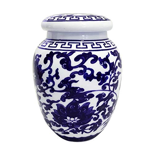 Decorative Blue and White Lotus Pattern Porcelain Storage Container or Display ()