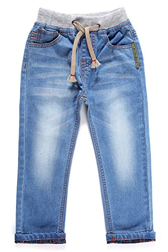 Little-Guest Little Boys' Jeans Kids Clothes Drawstring Waistband Denim Pants B103 (3 Years, Cyan Blue)