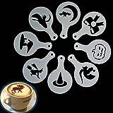 easyshop 8Pcs Halloween Cappuccino Latte Art Coffee Stencils Duster Cake Icing Spray