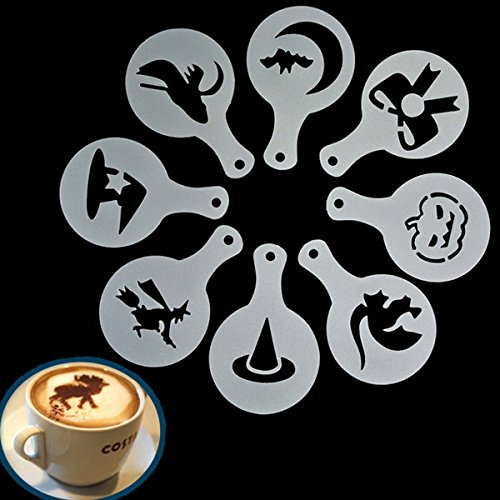Bazaar 8Pcs Halloween Cappuccino Latte Art Coffee Stencils Duster Cake Icing Spray Big Bazaar EXPSFN014817