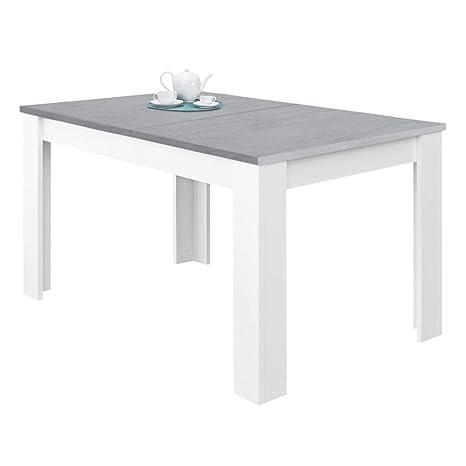 Habitdesign 0L4586A - Mesa de Comedor Extensible, Mesa salón o Cocina, Acabado en Color Blanco Artik y Gris Cemento, Modelo Kendra, Medidas: 140-190 ...