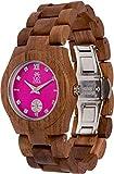 Maui Kool Wooden Watch Hana Collection for Women Analog Wood Watch Bamboo Gift Box (B5 - Walnut Fuchsia)