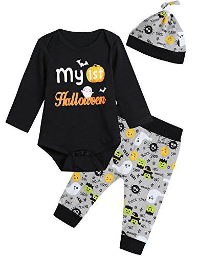 Baby Boys Girls My First Halloween Outfit Set Pumpkin Romper Ghosts Pants Hat (0-3 Months) -