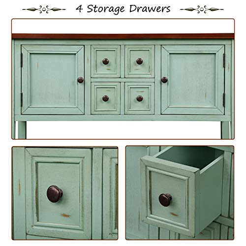 P PURLOVE Console Table Buffet Table Sideboard with Four Storage Drawers Two Cabinets and Bottom Shelf (Blue) by P PURLOVE (Image #5)