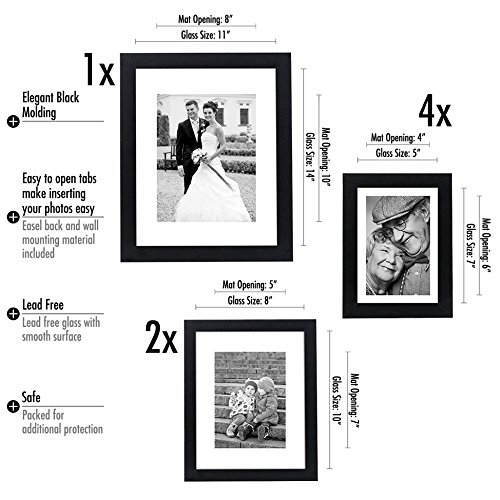 Americanflat 7 Pack Gallery Wall Set Includes One 11x14 Frame