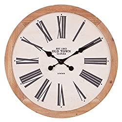 22 Rustic Wood Old Town Roman Numeral Wall Clock