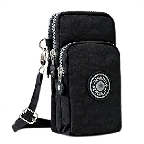 Bags us Small Crossbody Bag 3-Layers Zipper Coin Purse Wristlet Purse Waterproof Nylon Shoulder Strap Cellphone Pouch by Bags us